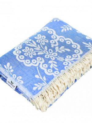 Plaid Paisley, Tagesdecke, Baumwolle, blau, 150x200 cm, Baumwolldecke, Baumwolle, blau, Decke, dekotuch, Duvet, Hamamtuch, Handtuch, paisley, pestemal, Plaid, Strandtuch, Tagesdecke, Towel, Wohndecke