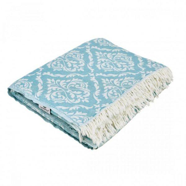 260x260 cm, Baumwolldecke, Baumwolle, blau, Decke, dekotuch, Duvet, Hamamtuch, Handtuch, paisley, pestemal, Plaid, Strandtuch, Tagesdecke, Towel, Wohndecke