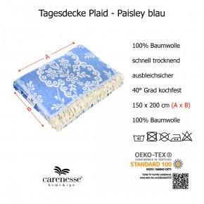 Plaid Paisley, Tagesdecke, Baumwolle, blau