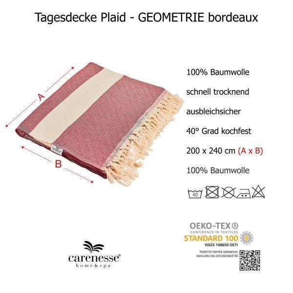Tagesdecke GEOMETRIE Queen Size rot natur Ganzjahresdecke mit Fransen 100% Baumwolle 200 x 240 cm