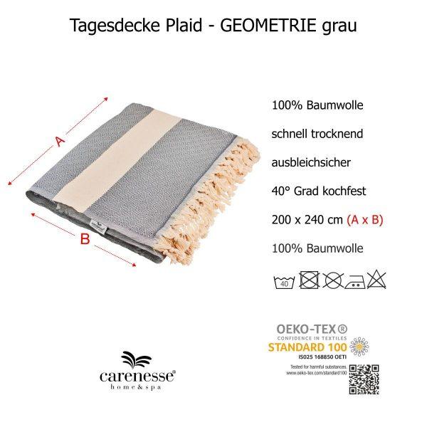Tagesdecke GEOMETRIE Queen Size grau natur Ganzjahresdecke mit Fransen 100% Baumwolle 200 x 240 cm